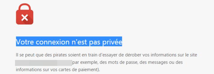 Message : Votre connexion n'est pas privée Google Chrome