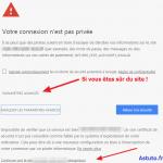 Votre connexion n'est pas privée – Google Chrome (PC ou Android)