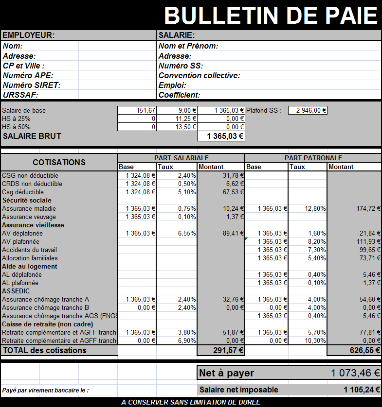 modele bulletin de paie sur excel document