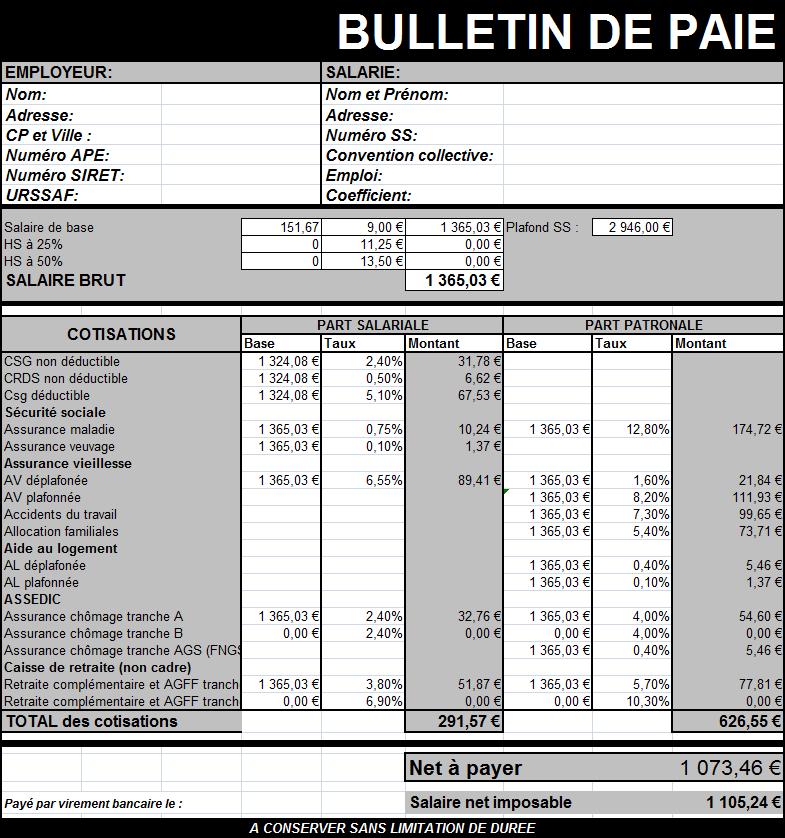 modele bulletin de paie sur excel document