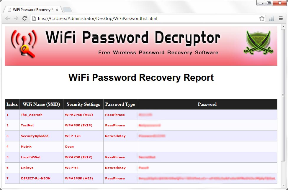 Télécharger WiFi Password Decryptor  gratuitement (Windows)